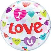 Qualatex - Folieballon - Bubbles - I love u - Zonder vulling - 56cm
