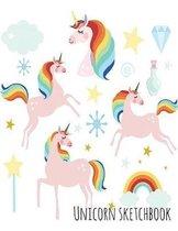 Unicorn Sketchbook: Pink Unicorn Rainbow Princess