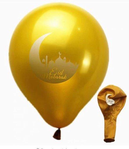 10 stuks Eid Mubarak ballon goud (met maan) – Ramadan – Suikerfeest decoratie