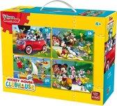 Disney 4 in 1 Puzzel Mickey Mouse - Vier Kinderpuzzels in een Koffertje - King