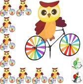 relaxdays 10 x windmolen uil - fiets - windspel - tuinsteker - tuin - kinderen decoratie