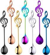 Theelepel Muzieknoot - Koffielepel - Set - Diverse Kleuren