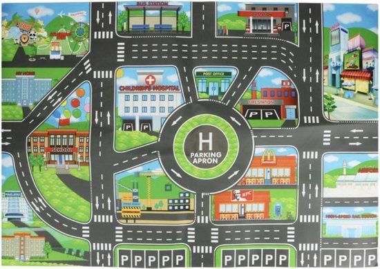 Afbeelding van Speelmat - Vloerkleed - 83 x 58 cm - Speelkleed Kids - Groot Baby & Kindervoerkleed - Dieren Kleed Jongens & Meisjes - Binnen & Buiten - Speelgoed - Spelen - Autos - Stad - Parkeren - Routekaart