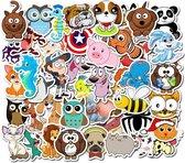Schattige dieren stickers - pack met 50 stuks - geschikt voor kinderen