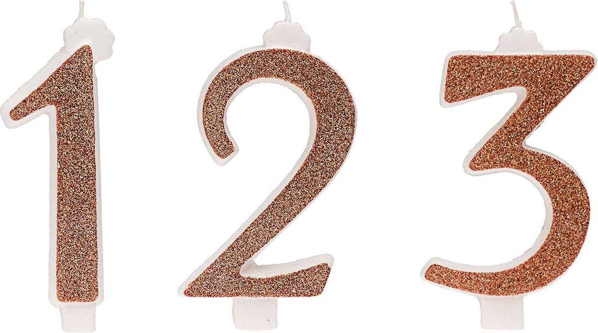 DEKORA - Roségouden cijfer verjaardagskaars - Decoratie > Kaarsjes