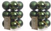 24x Donkergroene kunststof kerstballen 6 cm - Mat/glans - Onbreekbare plastic kerstballen - Kerstboomversiering donkergroen