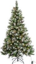180 cm sneeuw getipt kerstboom kunstkerstboom met sneeuw - groen + led verlichting