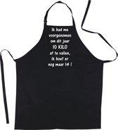 Mijncadeautje Schort - 10 kilo afvallen - Mooie - grappige - leuke Keukenschort - Zwart