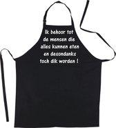 Mijncadeautje Schort - Ik kan alles eten- Mooie - grappige - leuke Keukenschort - Zwart
