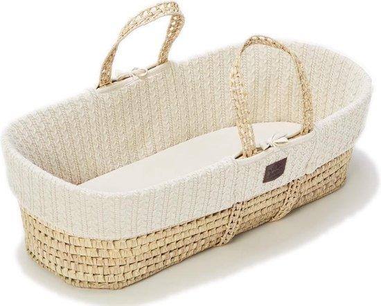 The Little Green Sheep Rieten Moses basket + matras - Linen Natural met Creme