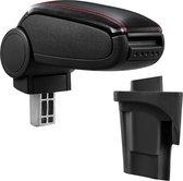 Armsteun-Seat Leon 1P-2005-2012-kunstleer-zwart+rood stiksel