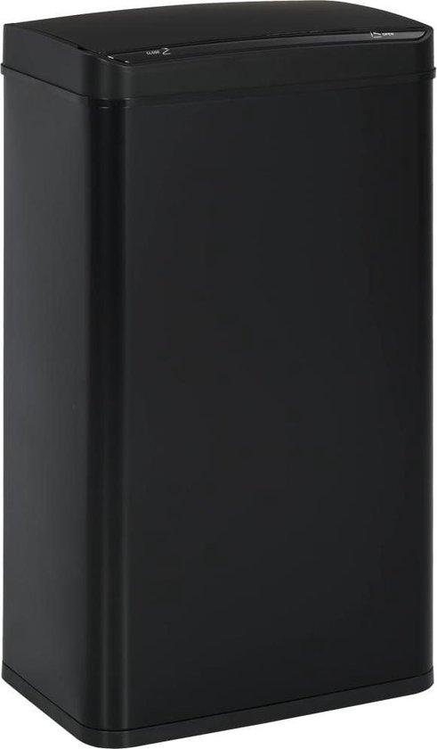 vidaXL Prullenbak met automatische sensor 70 L staal zwart