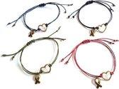 Jewellicious Designs Hope Love geluksarmbandjes voor Pink Ribbon - set van 4 - one size fits all - brons donkerblauw zwart armygreen bordeaux