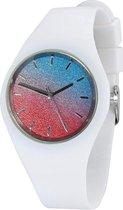 Fako Bijoux® - Horloge - Siliconen - Ultra Deluxe - Wit - Glitter Blauw/Rood