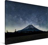 De Japanse vulkaan de Fuji tijdens de nacht Canvas 60x40 cm - Foto print op Canvas schilderij (Wanddecoratie woonkamer / slaapkamer)