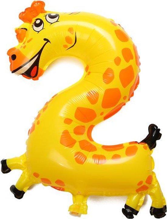 Folie helium ballon cijfer 2 dieren 41cm