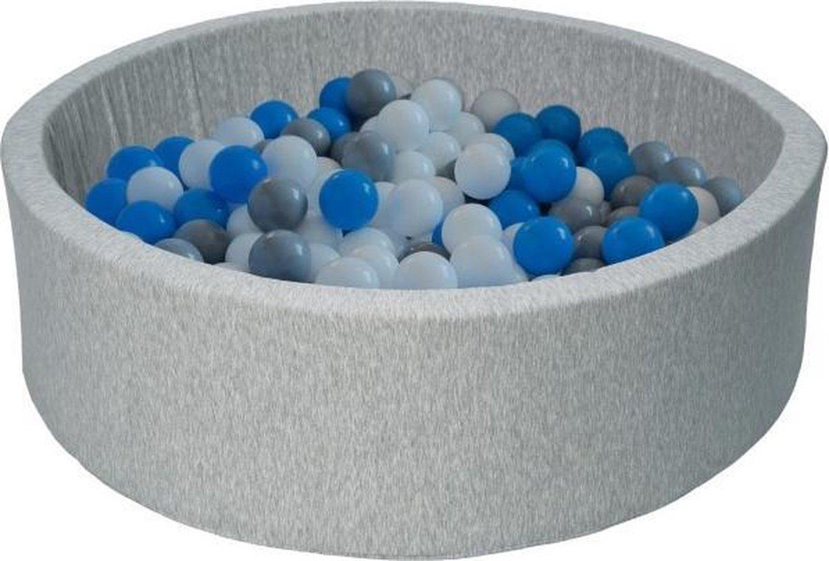 Ballenbad - stevige ballenbak - 90 x 30 cm - 450 ballen Ø 7 cm - wit blauw grijs