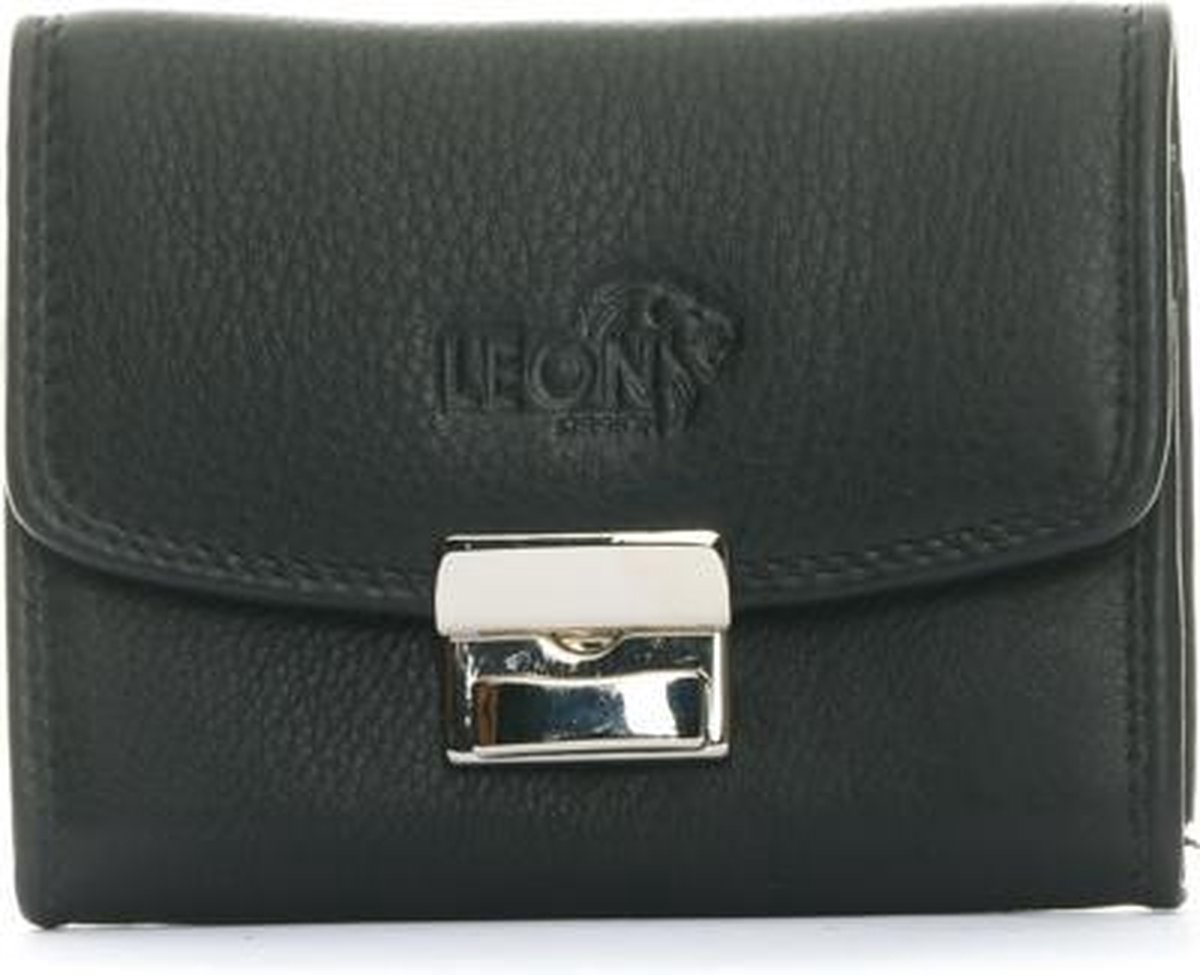 LeonDesign - 16-W0506-04 - zwart - leer - opa portemonnee - opa portemonnee heren - opa cadeau - opa beurs - opa beurs portemonnee met slot - bakbeurs - bakbeurs portemmonnee