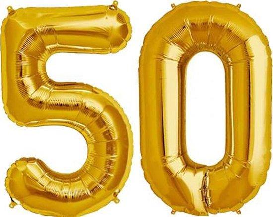 Cijfer 50 Goud Helium 86 cm Excl. Helium