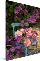 Seringen in een mand Canvas 60x90 cm - Foto print op Canvas schilderij (Wanddecoratie woonkamer / slaapkamer)