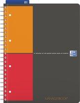 OXFORD International managerbook A4+ project liniatuur 4 gaats 80 vel 80g soepel kunststof kaft grijs