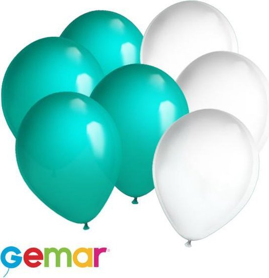 30 ballonnen Turquoise en Wit (Ook geschikt voor Helium)