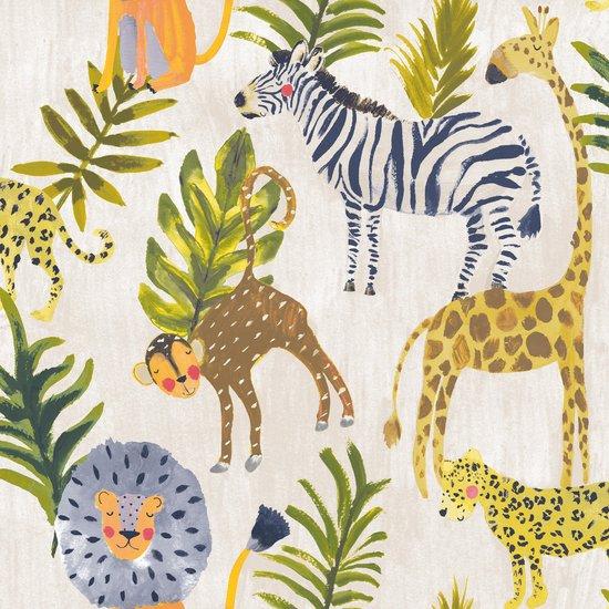 Little Ones Jungle beige/groen/geel natuur (vliesbehang, multicolor)