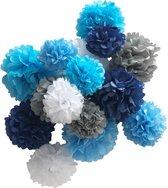 Feest versiering pompon set 15 stuks blauw grijs wit - pompom - geboorte versiering - feestversiering - verjaardag - babyshower - kinderfeest - decoratie