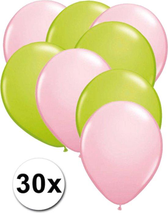 Ballonnen Licht roze & Licht groen 30 stuks 27 cm