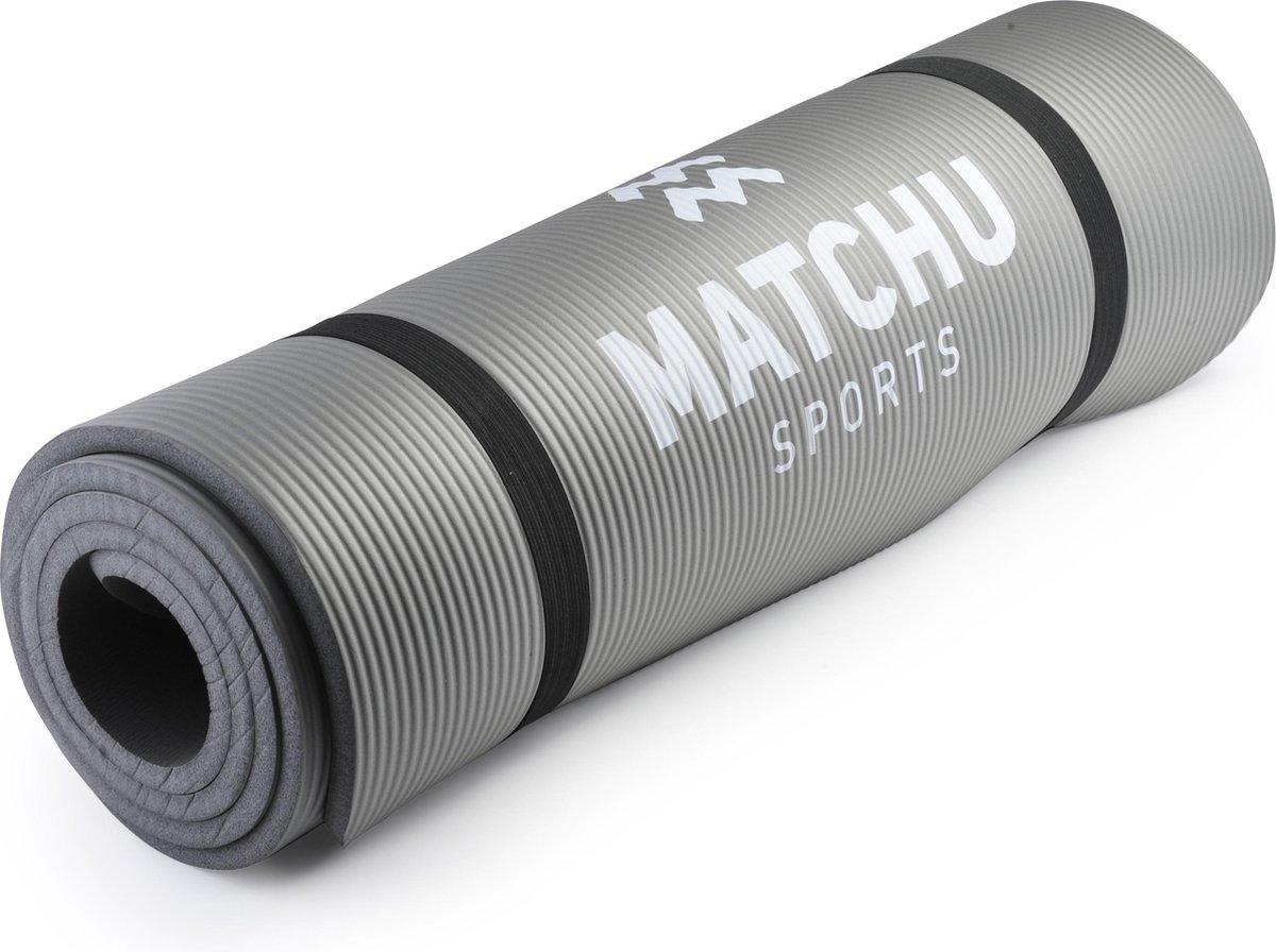 Matchu Sports - Fitnessmat - Sportmat - 183 cm x 61 cm x 0,9 cm - Grijs