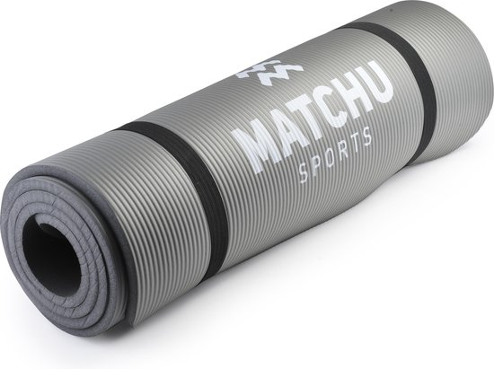 Matchu Sports - Fitnessmat - 183 cm x 61 cm x 0,9 cm - Grijs