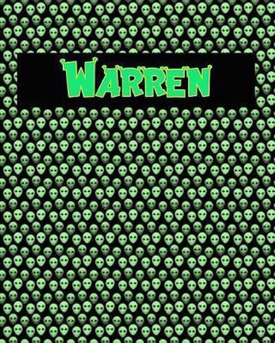 120 Page Handwriting Practice Book with Green Alien Cover Warren
