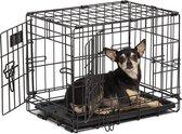 Topmast Hondenbench - Bench - zwart gecoat XS 49 x 33 x 41 cm  1 deur. Voor minirassen < 3 Kilo