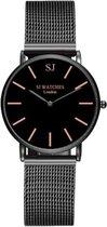 SJ WATCHES Zwarte Dames Horloge INCL Luxe Horlogebox 36MM - Zwarte Horloge Mesh Bandje - Dames Horloge Zwart met Rosekleurige Wijzers - Chique Horloge Dames