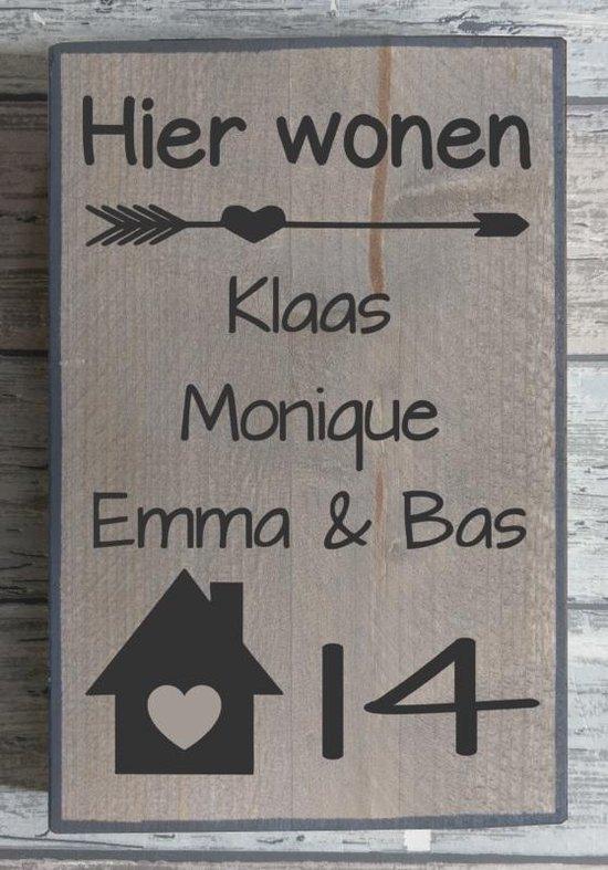 Hedendaags bol.com | Naambordje voordeur steigerhout met witte of antraciete DB-81