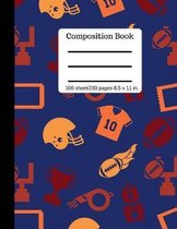 Composition Book - Football Sports - Writing Notebook - Wide