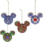 Disney Traditions Kerstbal Mickey Head 7 cm - set van 4