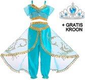 Jasmine kostuum Arabische prinsessen jurk Aladdin 128-134 (130) + GRATIS kroon verkleedjurk verkleedkleding