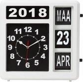 Flipover Wandklok Met Kalender - 31 X 31 Cm - Nederlands - Zwart   Wit