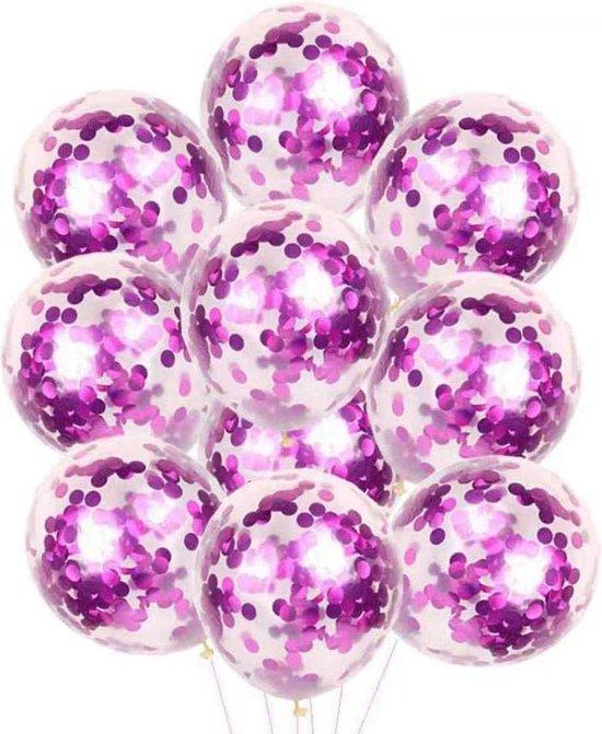 20x Confetti Ballonnen 30cm - Versiering - een van de leukste Feestartikelen - Paars