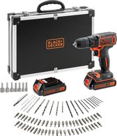 BLACK+DECKER BDCDC18BAFC-QW Accuboormachine kit - 18V - 80 accessoires - incl. 2 accu's en lader