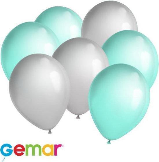 30x ballonnen Mintgroen en Metallic Zilver (Ook geschikt voor Helium)