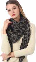 Warme winter luipaard print driehoekige dames sjaal camel zwart acryl circa 140 x 190 cm