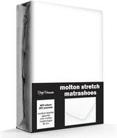 Day Dream Molton Hoeslaken - 80% Katoen - Stretch - 90x200 cm - Wit