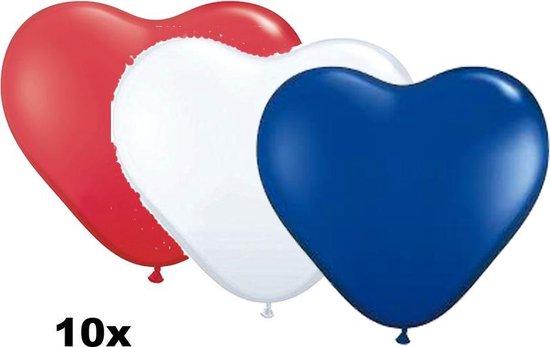 Hartjes ballonnen mix rood-wit-blauw, 10 stuks, 28 cm