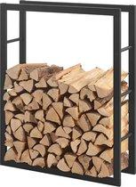 Stalen brandhoutrek houtopslag zwart voor ca. 0,2 m³ hout