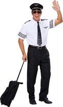 Piloot & Luchtvaart Kostuum | Pilotenshirt Met Stropdas En Hoed Man | Large | Carnaval kostuum | Verkleedkleding