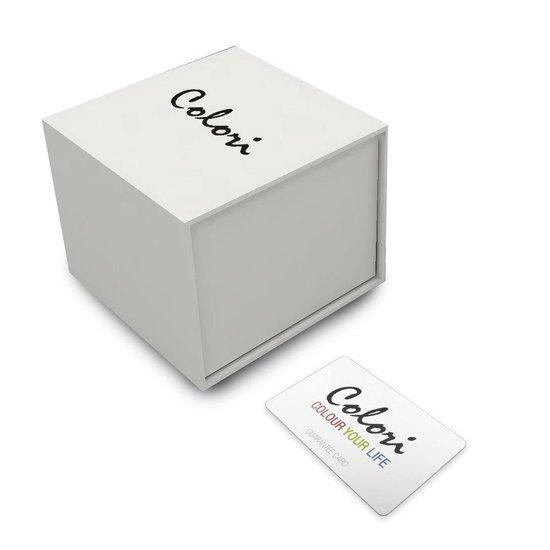 Colori 5-COL152 - Horloge - Wit met zilverkleurig - 40 mm