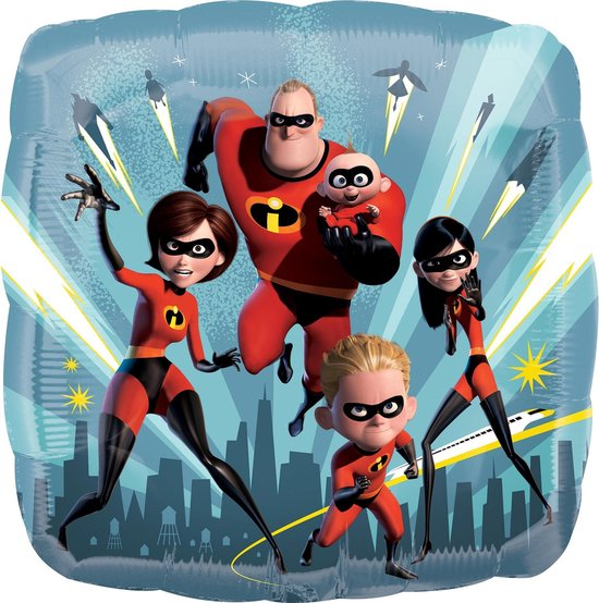 Vierkante ballon The Incredibles™ - Feestdecoratievoorwerp