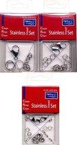Roestvrij Staal Set - 14x Dubbele Ringen - 14x Enkele Ringen - 3x 6cm Ketting - 3x 15mm Sluiting + 2x 19mm Sluiting + 1x 22mm Sluiting